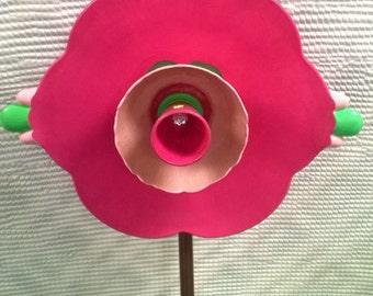 Glass Flower, Yard Art, Recycled Glass Flower, Glass Plate Flower, Garden Decor, Refurbished Glass Art, Garden Art, Yard Decoration, Outdoor