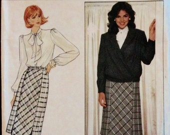 Butterick 4610 - 1980s Hip Length Banded Bottom Jacket with Notched Collar and Bias Cut Front Panel Skirt - Size 10