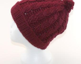 Tuque torsadée en tricot bourgogne avec pompon pour adulte