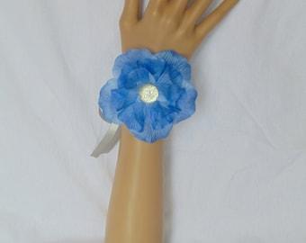 Blue Flower Corsage - Flower Wrist Corsage - Blue Wrist Corsage - Prom Corsage - Blue Prom Corsage - Ribbon Corsage - Blue Corsage