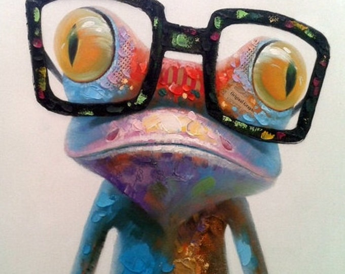 Nerdy Frog - Handmade Oil Painting on Canvas - Wall Art