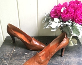 Vintage 70s Stuart Weitzman for Joseph Tan Leather High Heeled Shoes / Wooden Heels / Made in Spain / Women's Size 11