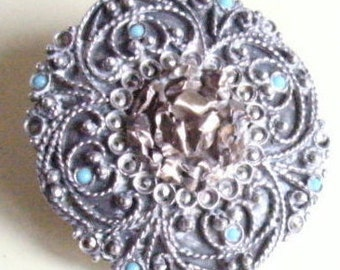 EDWARDIAN SILVER (CONTINENTAL-stamped as 800) Wt.19g./marcasite+ tiny turquoise stones brooch.Very pretty but damage to pin- price reflects.