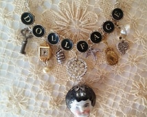 DOLLFACE Typewriter Necklace, Charm Necklace, Silver and Gold Charms, Antique Typewriter Jewelry, China Doll Necklace, Typewriter Key Choker