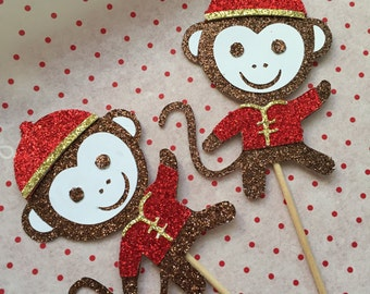 Glitter Year of the Monkey Cupcake Topper - Set of 6