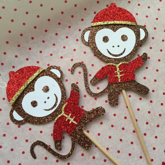 Chinese New Year Monkey Cupcake Toppers