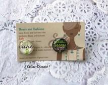 clearance .... Green Ribbon Celiac awareness glass post stud earrings