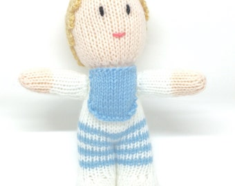 Knitted 'Baby' doll for baby boy; Soft toy, softie, Handknitted blue and white.