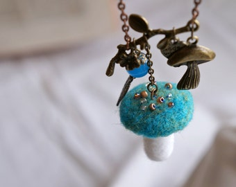 Woodland fairy turquoise mushroom necklace. Needle felted pendant inspired by nature and fairytales.