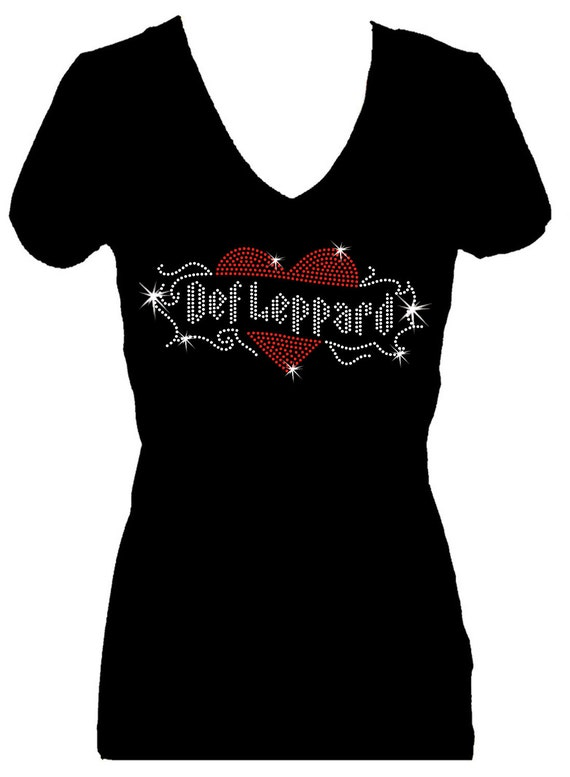 Def leppard rhinestone bling v neck short sleeve womens tee for Women s embellished t shirts