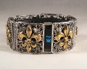 FitBit Charge Band Cover Bracelet and FitBit Charge HR Cover Bracelet: Fraiser Fleur de Lis  in Silver and Gold with Window