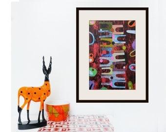 Original Artwork Vintage Style Op Art Wall Art Abstract Mid Century Style Atomic Scandi Scandinavian 50s 60s Minimalist