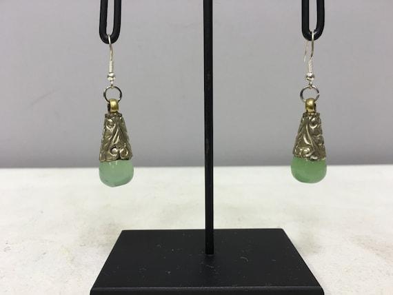 Tibetan Earrings Silver Handmade Handcrafted Green Jade Dangle Etched Silver Teardrop Gift for Her Jewelry Earrings Birthday