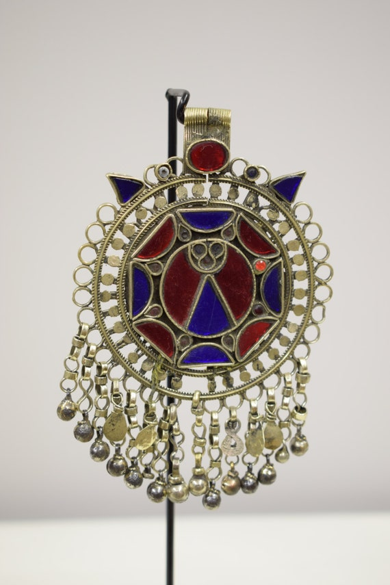 Pendant Middle Eastern Silver Kuchi Blue Red Glass Foil Paper Handmade Jewelry Belly Dancing Unique Kuchi Dangle Pendant
