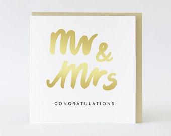 Wedding card / Engagement // Mr & Mrs // Gold foil card  TPRC102