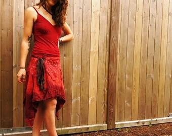 Red Spiral Hand dyed Wraparound