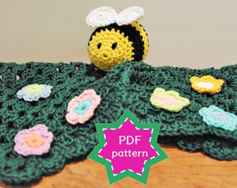 Crochet lovey PATTERN - Bumble Bee zzz baby security blanket, lovey. Baby shower gift. Springtime baby present.