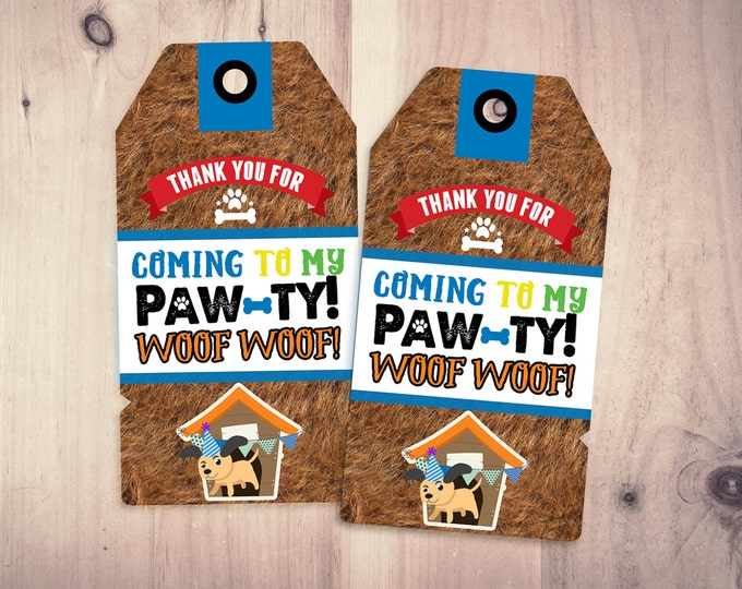 Puppy Party favor tags - Puppy Paw-ty - Paw party, birthday, baby shower, puppy adoption, sit & Stay pawty, Dog birthday, puppy birthday