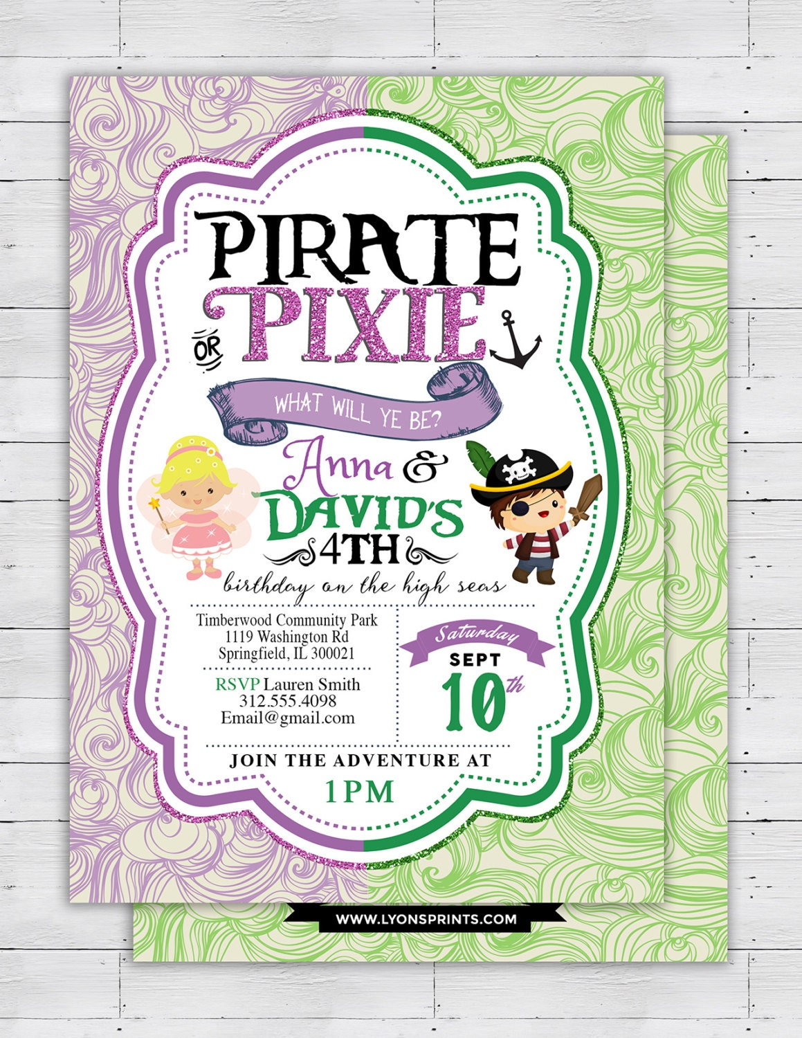 PiratesPrincess Pixie Party Invitations Pirate Princess Pixie – Princess and Pirates Party Invitations