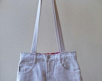 Shoulder bag, purse jeans white, handbag denim, upcycled denim purse, jeans handbag, jeans recycled, denim handbag, tote denim bag, ooak D55