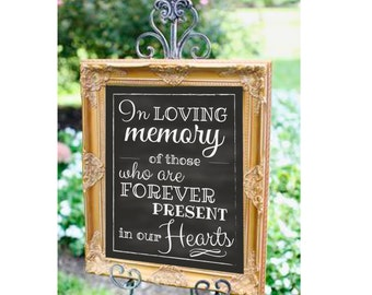 "In Loving Memory Wedding Download, Chalk Wedding Print, Memorial Print, In Loving Memory Wedding Sign 8"" x 10"" INSTANT DOWNLOAD"