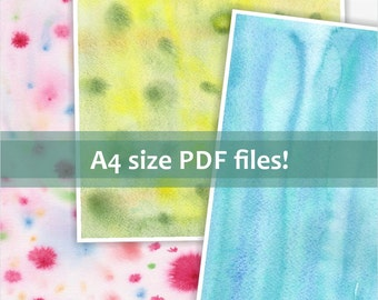 Instant download for digital scrapbook paper. Printable watercolor background. Colorful spots pattern. Pink, yellow, blue.