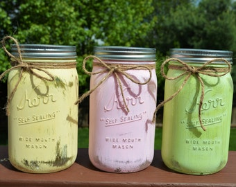 Hand Painted Mason Jar Decor- Three Rustic & Distressed Styled Painted Jars- Quart Size