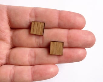Ear studs, Square shaped, made out of bamboo , mini earpins, earpins, stud earrings small