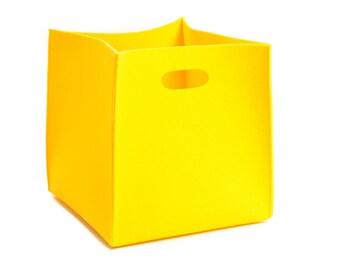 Big felt box, felt storage box, yellow basket, vegan felt, storage bin, Gopher