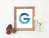 G Monogram, Watercolor G Print, Blue Art, Blue Monogram, Boys Monogram, Nursery Wall Decor, Instant Download, Letter G, Blue Print