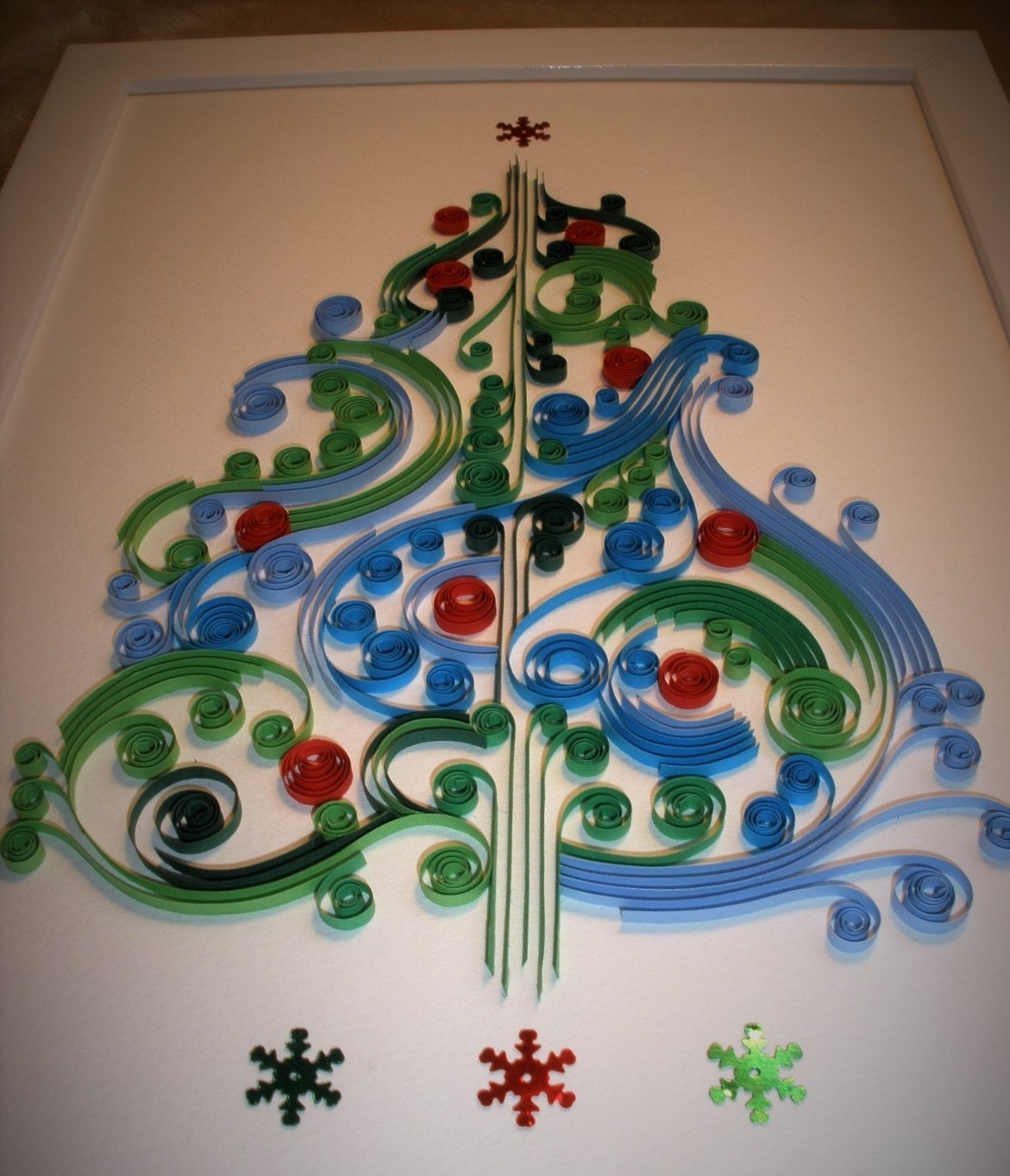 Cool Christmas Wall Decor : Christmas tree unique paper quilled wall art for home decor