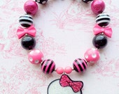 Monster High Necklace, Skull, Chunky Bubblegum Bead Necklace with Pendant and Hair Bow Gift Set, 20mm Beads Polka Dots, Stripes, Rhinestones