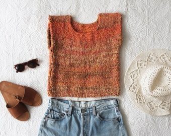 Sunrise 70s Crop Top Cropped Thick Knit Sweater Oranges Woven Cotton Sweater / Midriff Baring Shirt / Size Small-Medium sm med md 0-2-4