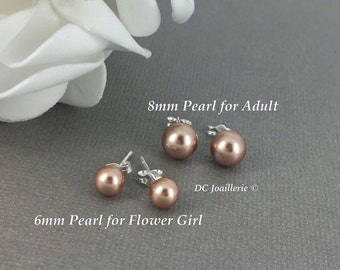 Swarovski Rose Gold Pearl Earring Stud Earrings Bridesmaid Gift Bridesmaid Earrings Flower Girl Earrings Rose Gold Earrings Wedding Earrings