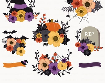 Floral Halloween Bouquets. Halloween Clip Art. Floral Clipart. Floral Bouquet. Wedding. 8 images, 300 dpi. Eps, Png files. Instant Download.