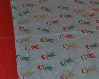 Christmas Sock Monkey Pillowcase