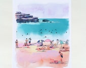 Bondi Beach in Pink Print. Beach scene painting, watercolor, beach house art, beach watercolor palm trees, coral, pink, patterned umbrellas