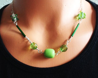 green and sterling lampworked bead necklace