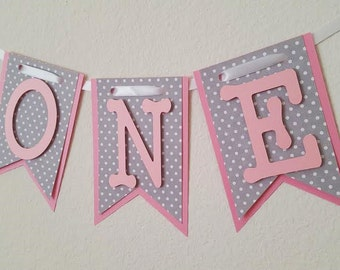Pink and Grey Polka Dot High Chair Banner, Happy Birthday Banner, I Am One Banner, I Am Two Banner