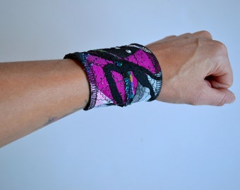 Wrist cuff, Upcycled jewlery, Boho bracelet, Bracelet cuff, Pink wrist cuff.