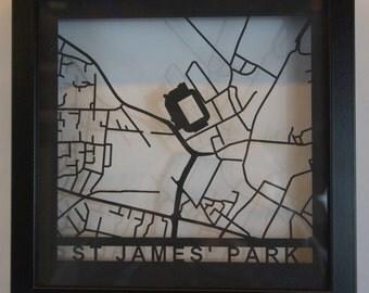 Newcastle FC - ST James' Park - Laser cut map - Black