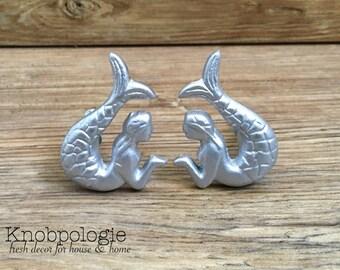 SET OF 2 - Copper Mermaid Knob Drawer Pull or Hook - Mermaid Tail ...
