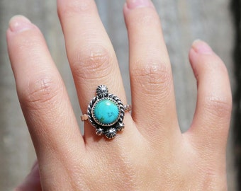 Blue Kingman Turquoise Ring - US 6.5, Turquoise Ring, Silver ring