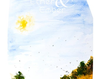 Large Summer Watercolor Art Digital Download- 11x14