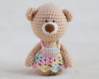 Crochet amigurumi teddy bear in dress - small teddy bear, personalized bear gift, birthday bear, Valentine teddy bear MADE TO ORDER