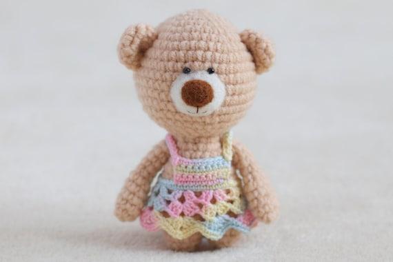 Amigurumi Crochet Dress : Crochet amigurumi teddy bear in dress small teddy bear
