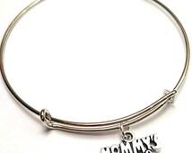Mommy's Girl Bangle Bracelet, Adjustable Expandable Bangle Bracelet, Mom Jewelry, Mom Charm, Mother Daughter Bracelet, Daughter Bracelet