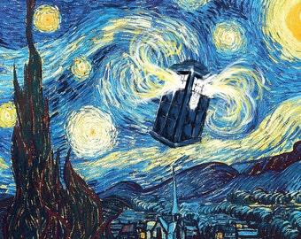 Tardis Starry Night Dr. Who Vincent van Gogh Art Print Poster