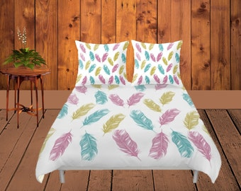 Duvet Cover - 4 different sizes, No Insert, Bedroom, Home, decor, Feathers, Boho, Hippie, With, Without, Shams, White, Magenta, Teal, Gold,