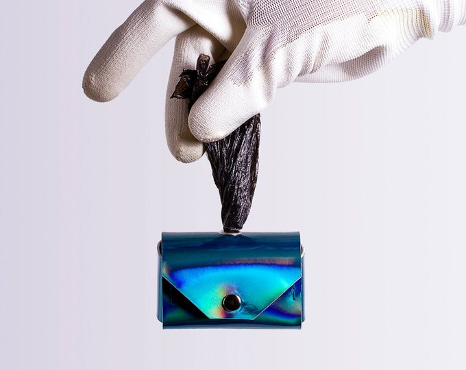 blue holographic dog waste bag holder